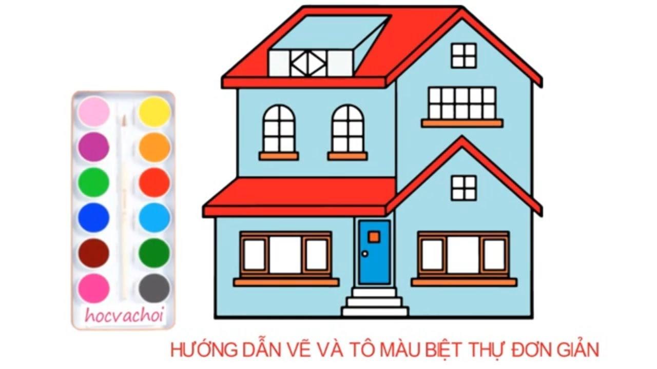 cách vẽ biệt thự đơn giản / Vẽ tranh theo chủ đề