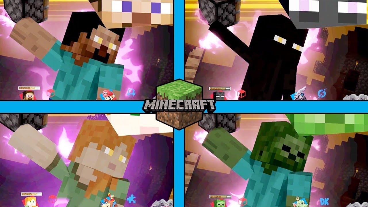 Super Smash Bros. Ultimate - Minecraft Skins Steve, Zombie, Enderman, and  Alex Use Their Final Smash