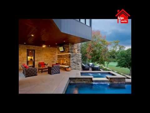 ide desain rumah dengan kolam renang dan taman cantik