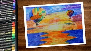 How to draw Landscape hot air balloons scenery step by step