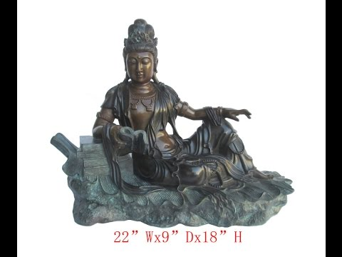 Unique Chinese Antique Hand Made Brass Sitting Reading KwanYin Statue WK2960