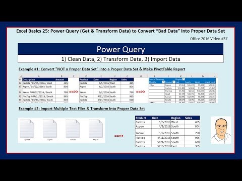 Excel Basics 25: Power Query (Get & Transform) to Clean & Transform Data into Proper Data Set