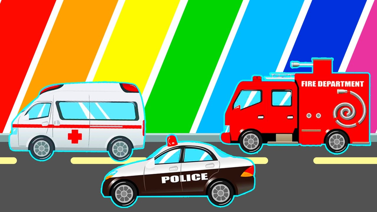 Police Color Cars For Kids And Spiderman Cartoon For Children With Learn Colors Fun Video Youtube
