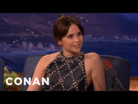 Felicity Jones' Very Sweaty Golden Globes   CONAN on TBS