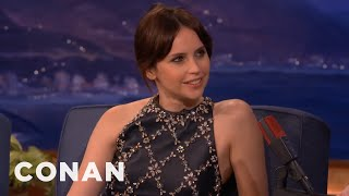 Felicity Jones' Very Sweaty Golden Globes  - CONAN on TBS
