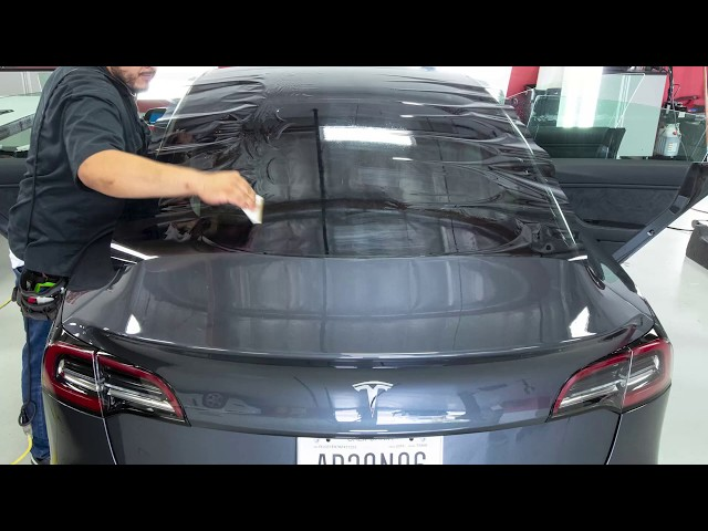 Best Tesla Model 3 and Model Y Ceramic Tint Time-Lapse by Ghost Shield Film in Thousand Oaks
