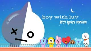 Gambar cover •Boy with luv• by BTS feat. Halsey  BT21 version                       [lyrics romanization/english]