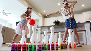 Blindfolded GIANT Bowling Slime PRANK Challenge!! | JKrew