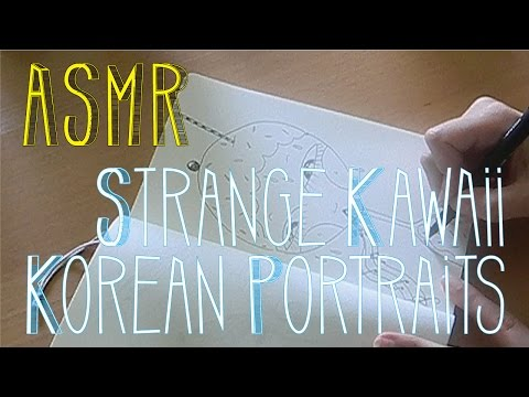 ASMR Strange Kawaii Korean Portraits | Zen Doodles | LITTLE WATERMELON