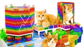 DIY - How To Build Mini Playground For Kitten Cat From Magnetic Balls (Satisfying) - Magnet Balls