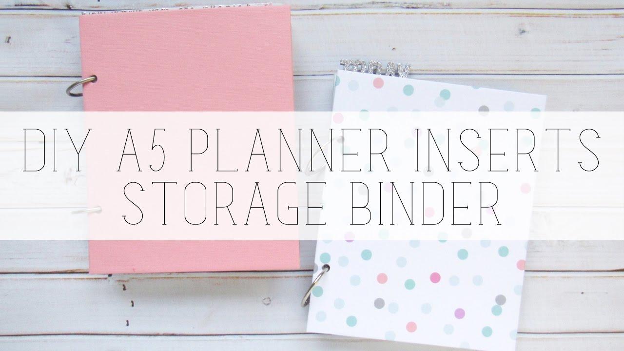 diy a5 planner insert storage minibook binder