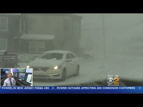 Snow Makes Mess In Babylon Village, Long Island