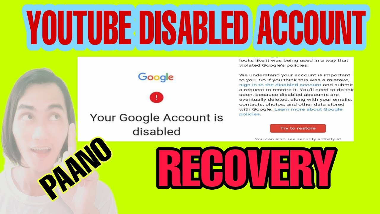 PAANO AYUSIN ANG DISABLED GOOGLE ACCOUNT   google account is disabled   