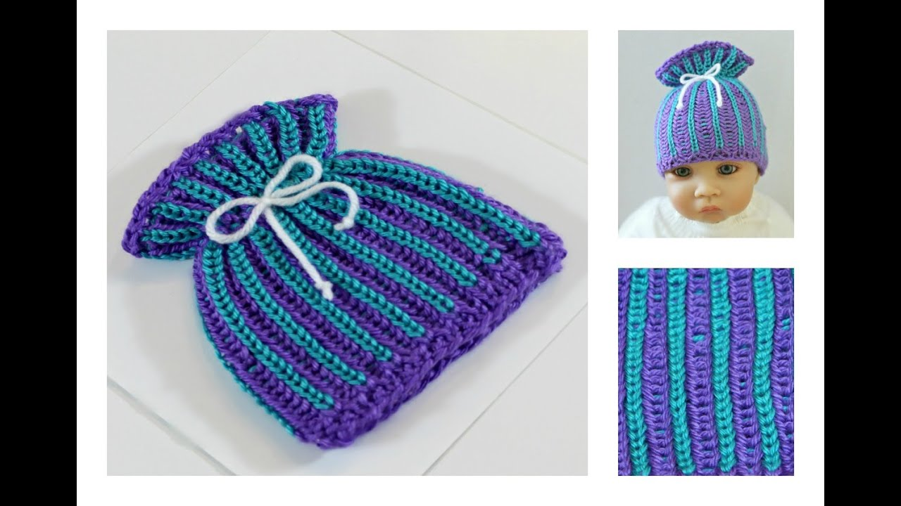 Two Color Double Knitting In The Round : Loom knit hat brioche stitch paper bag baby two