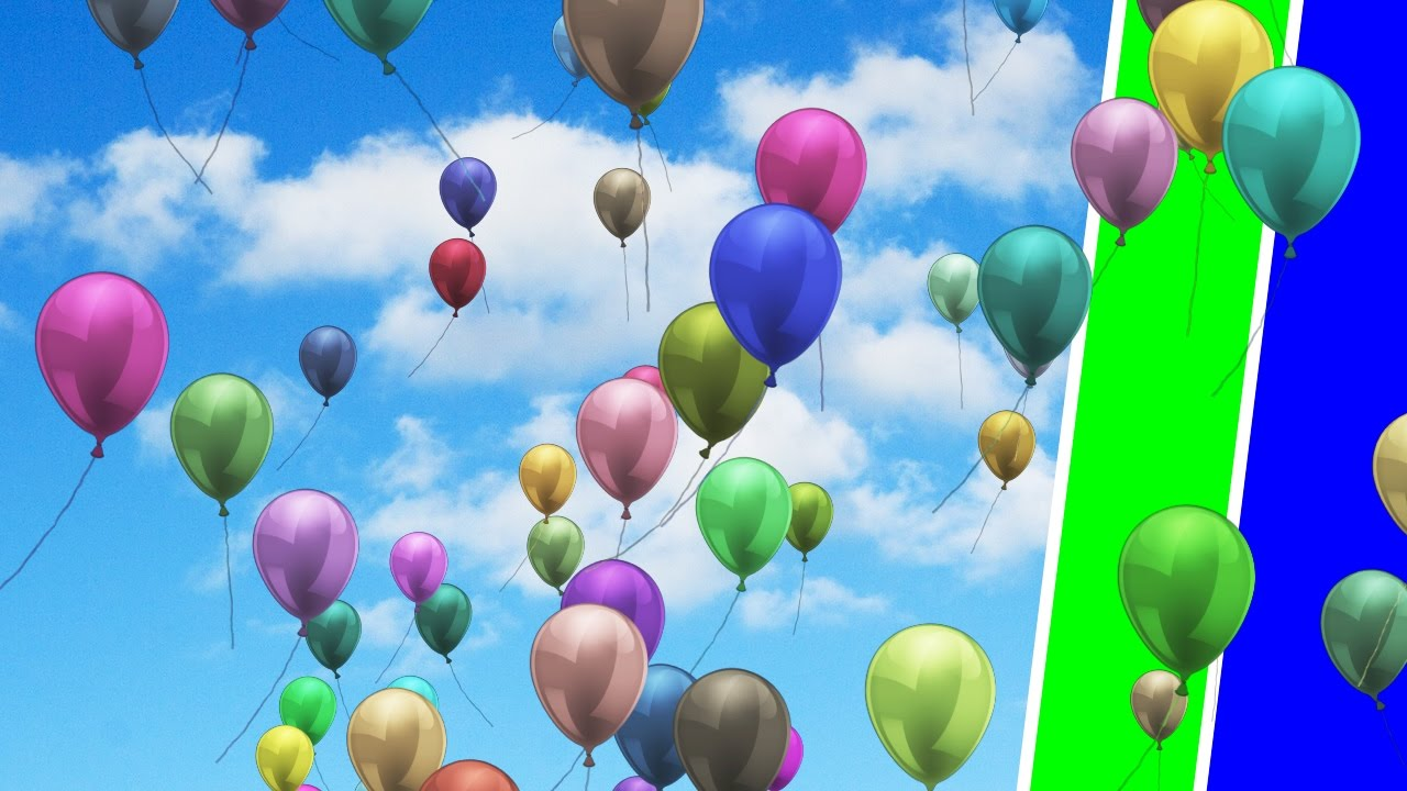 Green and blue balloons -  New 2017 Green And Blue Screen Balloons Flying In The Sky Free Footage