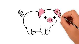How to draw a  Pig -  How to draw funny cartoons