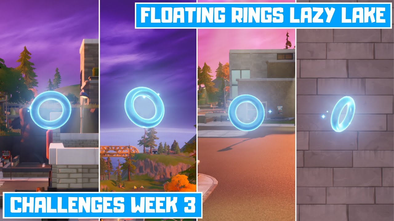 Collect Floating Rings at Lazy Lake! All 4 Floating Ring Location in Fortnite! - Challenges Week 3