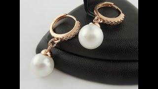 Серьги с жемчугом украшение медицинское золото earrings