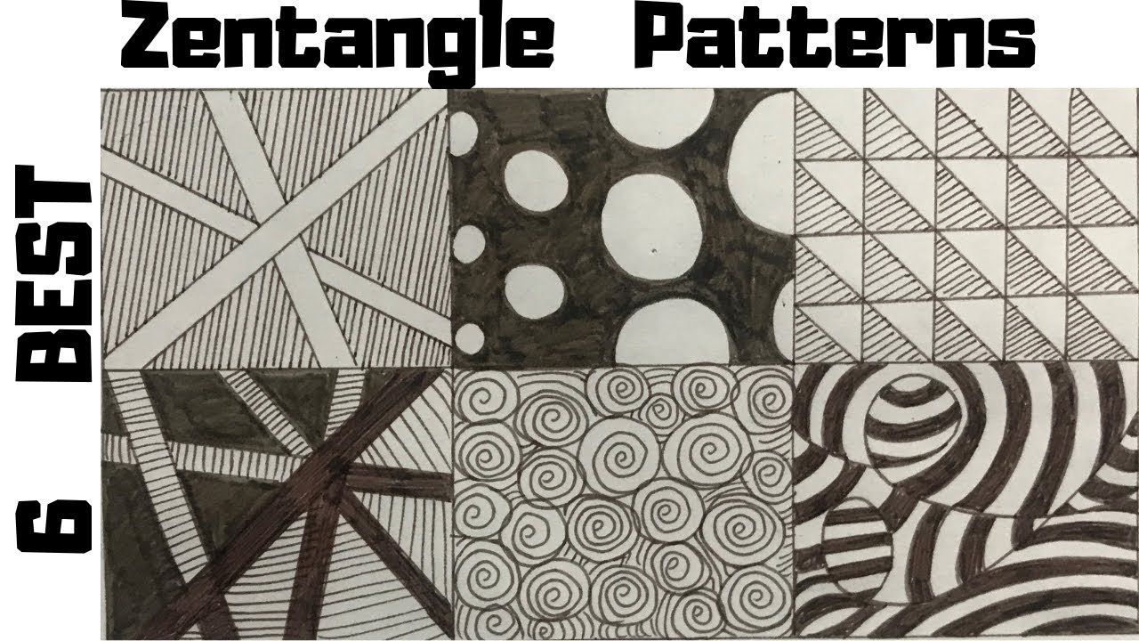 6 Best Zentangle Patterns For Beginners, How To Draw Easy ...
