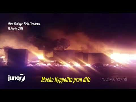 Incendie du marché en fer / marché Hippolyte en ville  au cours de la nuit