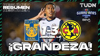 Resumen y goles   Tigres 1-3 América   Torneo Guard1anes 2021 BBVA MX - J14   TUDN