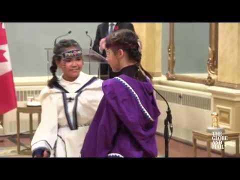 Young Inuit Throat Singers Perform At Trudeau's Swearing-in Ceremony