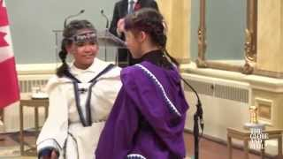 Young Inuit throat singers perform at Trudeau