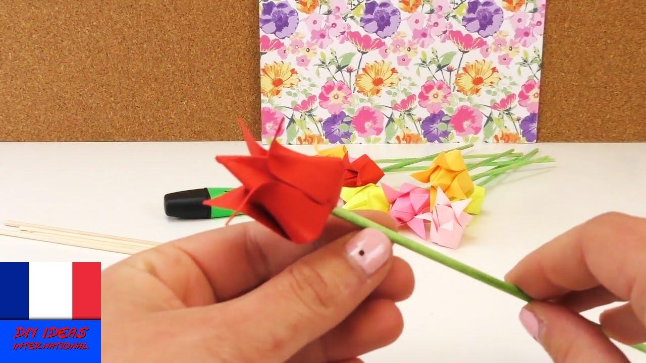 Origami Tulipe Diy Fleurs En Papier Deco Rapide Et Facile