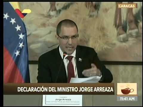 Canciller venezolano Jorge Arreaza, rueda de prensa este 9 enero 2020 sobre injerencia de EEUU