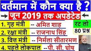 वर्तमान में कौन क्या है ? | bharat me wartman me kon kya hai | june 2019 current affairs ssc cgl