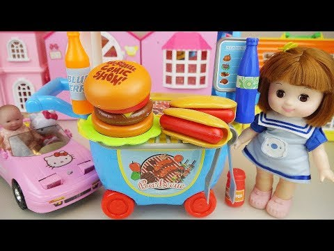 Baby doll burger and hot dog shop car cooking food toys play