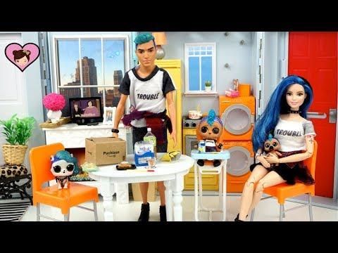 LOL Punk Boi Family Moves into the Barbie Dollhouse - Custom Barbie DIY & Rement Toys