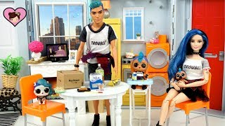 LOL Punk Boi Family Moves into the Barbie Dollhouse - Custom Barbie DIY & Rement Toys