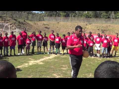 Opening TTFA/OneWorldFutbol Youth Football Community clinic in Blanchisseuse