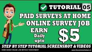 Earn money 5 daily at home with online income site free.
