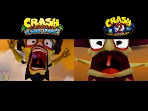 Crash Bandicoot 1, 2, & 3 intro comparions