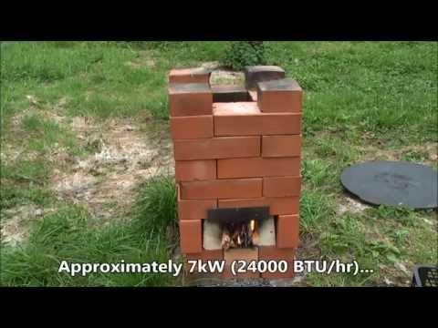 DIY 36 Brick Rocket Stove. Approx 7kW (24000 BTU/hr)