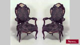 Antique Pair Of French Victorian Carved Rosewood Arm Chairs
