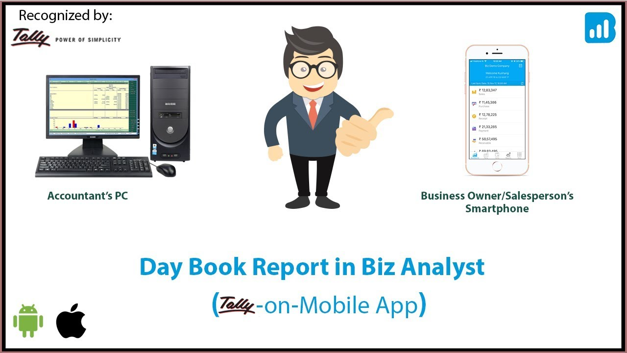 biz analyst tally on mobile app view the day book report youtube