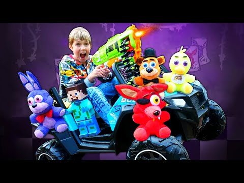 Игра ФНАФ в реале - Аниматроники забрали Стива Майнкрафт! – Видео с игрушками для мальчиков.
