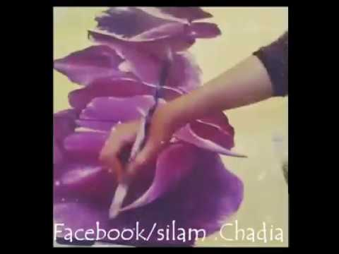 Fleur Magenta Peinture Acrylique Sur Toile Chada Art Youtube
