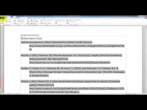 Editing the Reference list Word 2010 APA 6th ed YouTube – Word Reference List