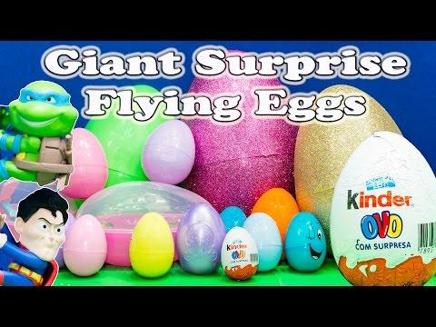 SURPRISE EGGS Giant Surprise Eggs That Can Fly TMNT Surprise Eggs Toys Video