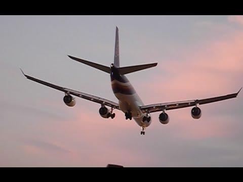 สวยมาก เครื่องบินลงยามโพล้เพล้ สุวรรณภูมิ A nice scene Airplane landing Bangkok Thailand
