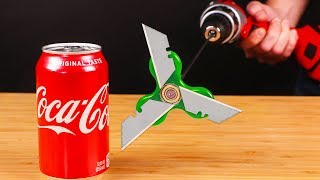 COCA COLA VS DRILL POWERED CHAINSAW