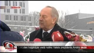 Valsts prezidents Andris Bērziņs noliek ziedus Zolitūdes traģēdijas notikuma vietā