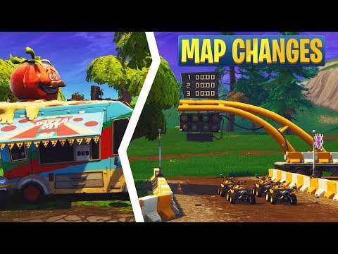 Fortnite 6.1 Map Changes: All Quadcrasher Spawn Locations, Race Track, Pizza Truck, & More