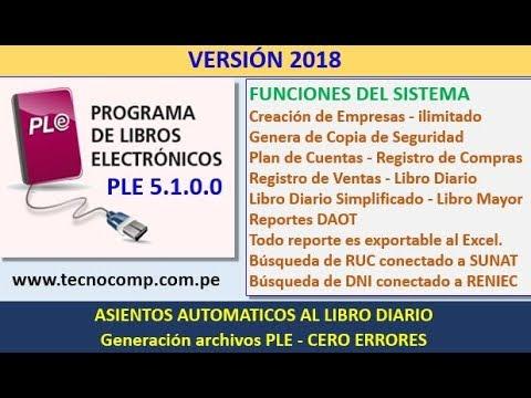 Sistema de Libros Electronicos PLE 5.1.0.0 - Año 2018