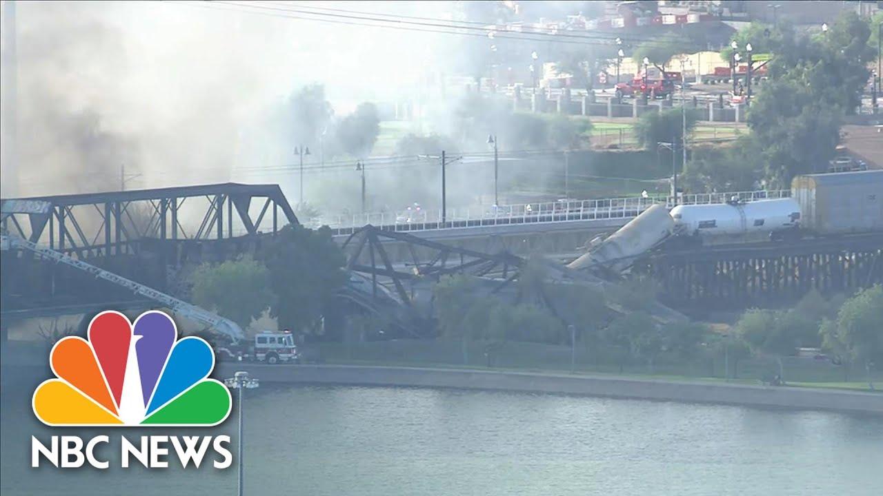 Aerials Show Crews Responding To Massive Fire, Train Derailment In Tempe, Ariz. | NBC News NOW