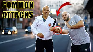 Self defense technique against common knife attacks